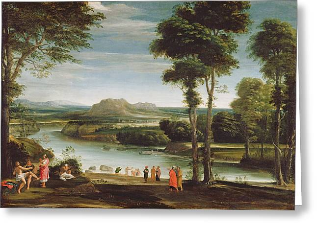 River Paintings Greeting Cards - Landscape With St. John Baptising Greeting Card by Domenichino