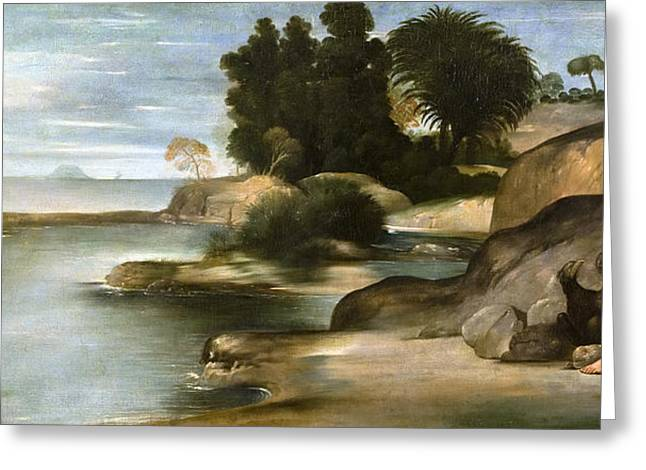Landscape With St John The Evangelist Greeting Card by Juan Bautista Maino