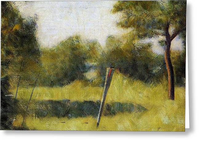 Seurat Greeting Cards - Landscape with Stake Greeting Card by Georges Seurat