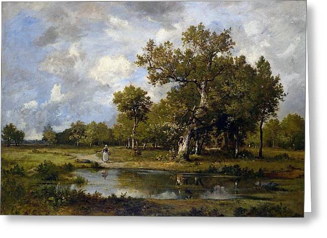 Leon Richet Greeting Cards - Landscape with stream and walker Greeting Card by Leon Richet