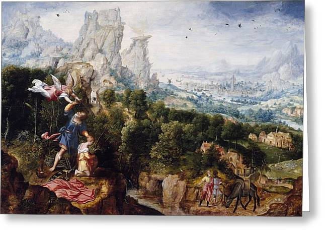 Landscape With The Offering Of Isaac, C.1540 Oil On Panel Greeting Card by Herri met de Bles