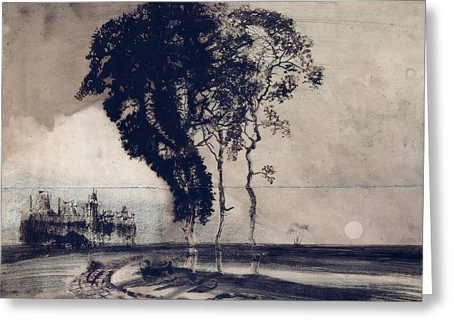 Pen And Paper Drawings Greeting Cards - Landscape with Three Trees Greeting Card by Victor Hugo
