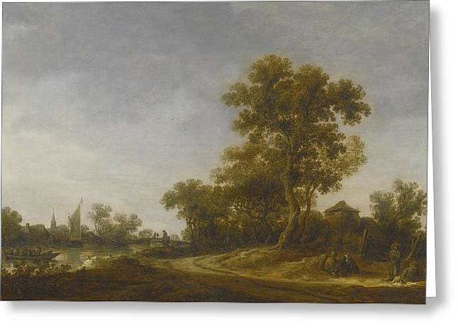 Conversing Paintings Greeting Cards - Landscape With Travellers Greeting Card by Jan Josefsz Van Goyen