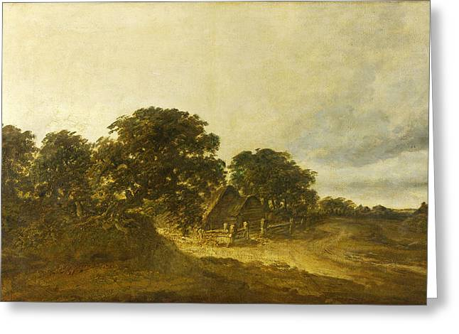 Landscape With A Road Greeting Cards - Landscape with Trees Buildings and a Road Greeting Card by Georges Michel