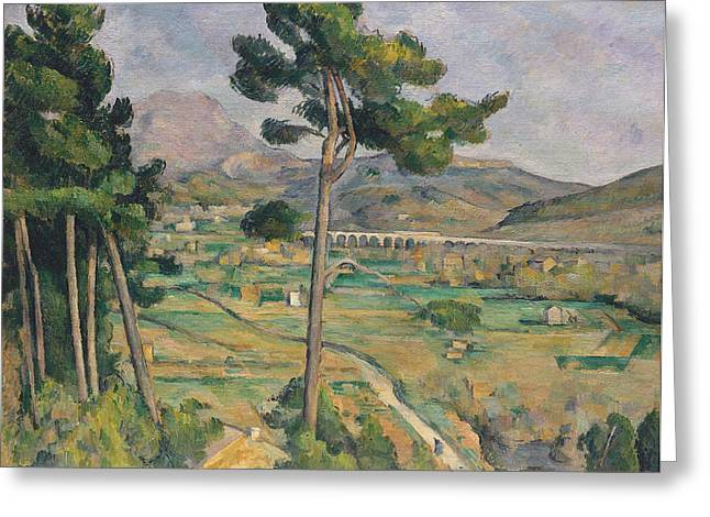 Victoire Paintings Greeting Cards - Landscape with viaduct Greeting Card by Paul Cezanne