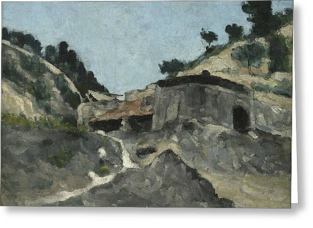 Water Mill Greeting Cards - Landscape With Water Mill, C.1871 Greeting Card by Paul Cezanne