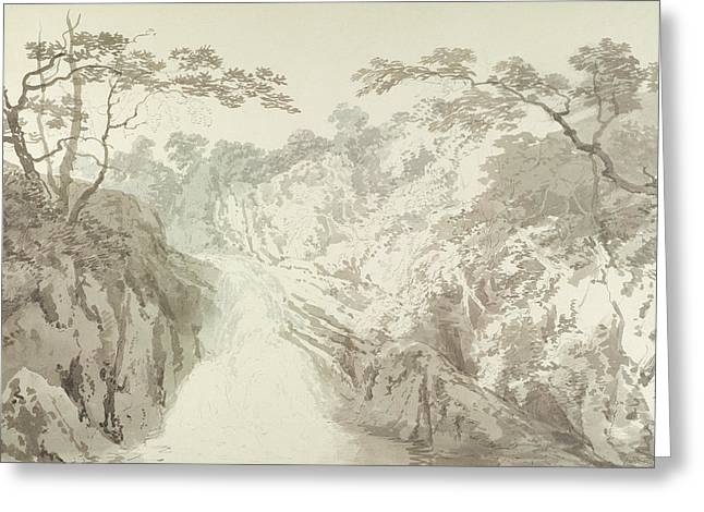 White River Drawings Greeting Cards - Landscape with Waterfall Greeting Card by Joseph Mallord William Turner