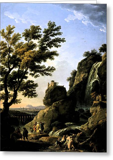 White River Scene Mixed Media Greeting Cards - Landscape with Waterfall Greeting Card by Joseph Vernet