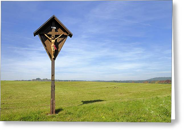 Wayside Cross Greeting Cards - Landscape with wayside crucifix Greeting Card by Matthias Hauser
