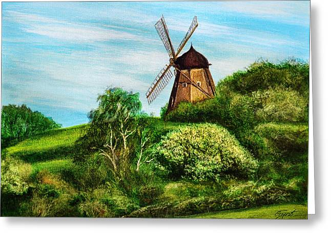 Landscape With Windmill Greeting Card by Gynt Art