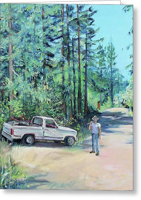 Sonoma County Paintings Greeting Cards - Landscaper Truck and Redwood Trees Greeting Card by Asha Carolyn Young