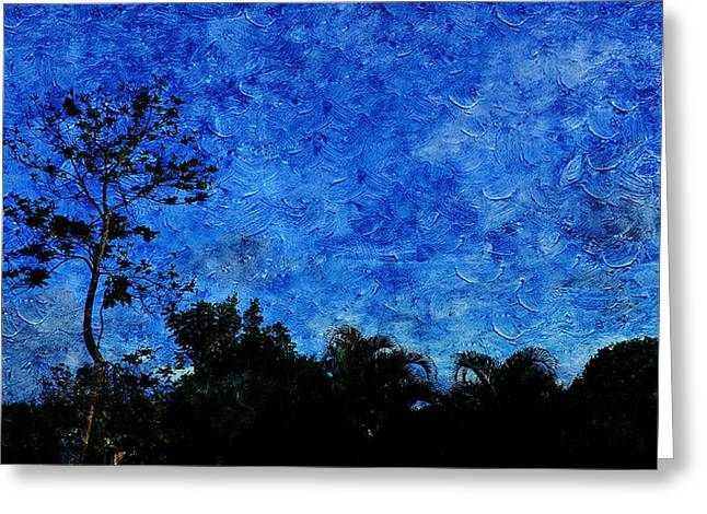 Landscapes In Blue Sky Greeting Card by Xueyin Chen