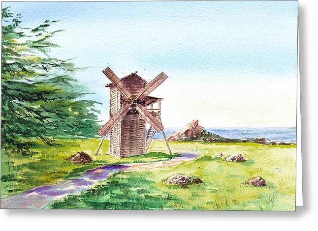 Ocean Landscape Greeting Cards - Landscapes Of California Fort Ross Windmill Greeting Card by Irina Sztukowski