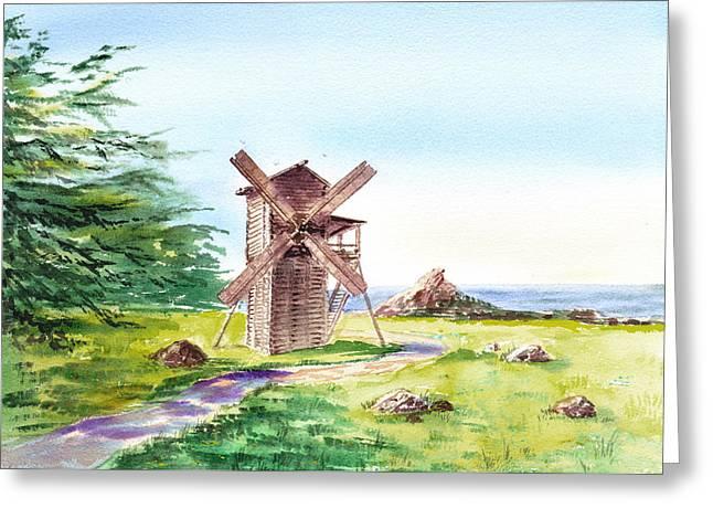 Landscapes Of California Fort Ross Windmill Greeting Card by Irina Sztukowski