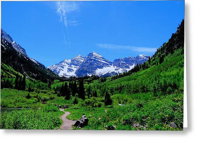 Take A View Greeting Cards - Hiking Maroon Bells Greeting Card by Dan Sproul