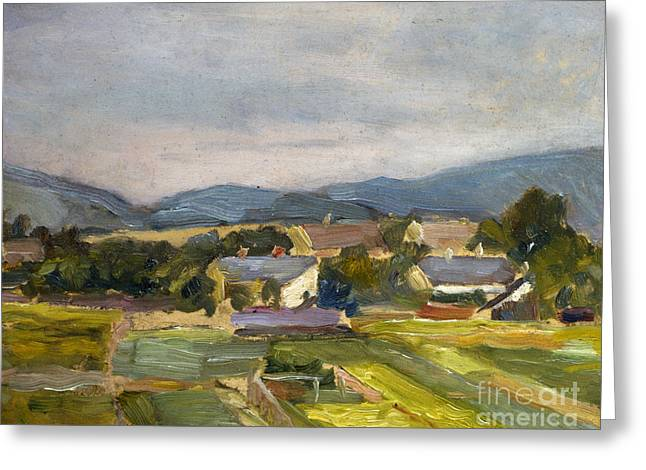 Austria Paintings Greeting Cards - Landschaft in North Austria Greeting Card by Egon Schiele