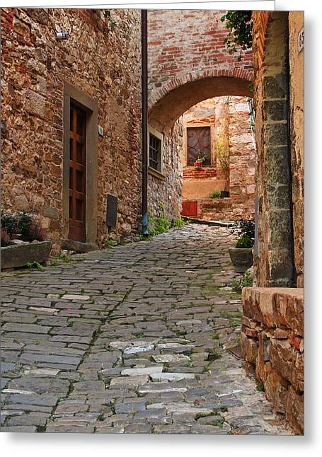 Chianti Greeting Cards - Lane and Arch in a Chianti Hilltown Greeting Card by Greg Matchick