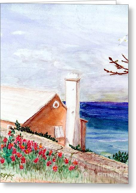 Stone House Mixed Media Greeting Cards - Lane in Old Bermuda Greeting Card by Barbie Corbett-Newmin