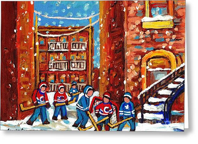 Street Hockey Game Greeting Cards - Laneway Hockey Game Montreal Paintings Winter Fun In The City Carole Spandau Greeting Card by Carole Spandau
