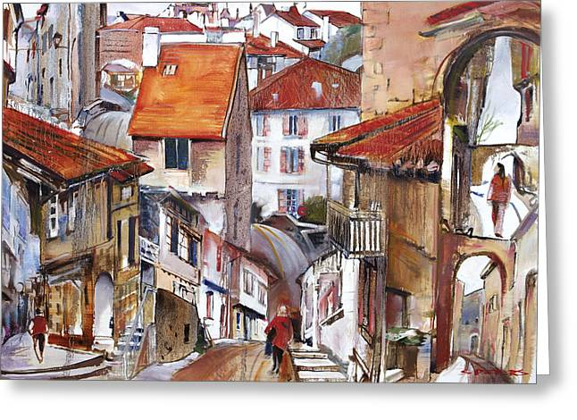 France Doors Paintings Greeting Cards - Laneways of Nerac Greeting Card by Shirley  Peters