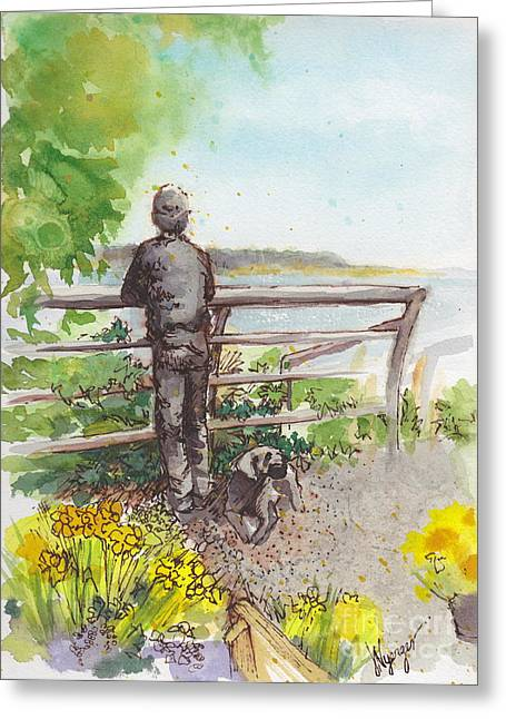 Whidbey Island Wa Greeting Cards - Langley Boy and Dog with Daffodils Greeting Card by Judi Nyerges