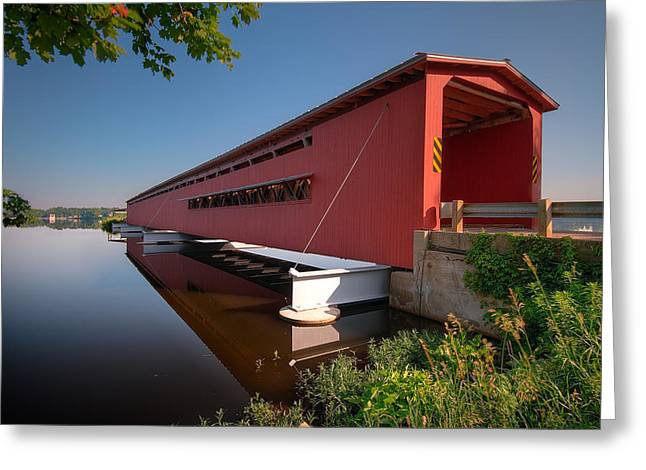 Covered Bridge Greeting Cards - Langley Covered Bridge Michigan Greeting Card by Steve Gadomski