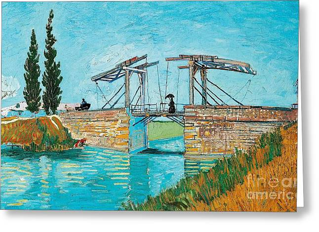 Nederland Paintings Greeting Cards - Langlois Bridge at Arles Greeting Card by Vincent van Gogh