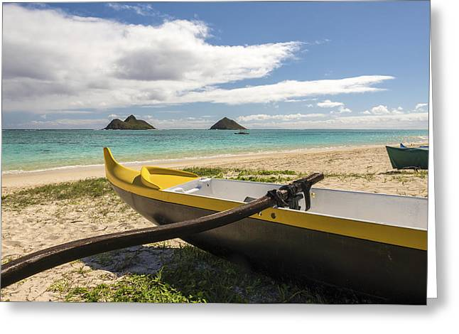 Tropical Island Greeting Cards - Lanikai Beach Outrigger 1 - Oahu Hawaii Greeting Card by Brian Harig