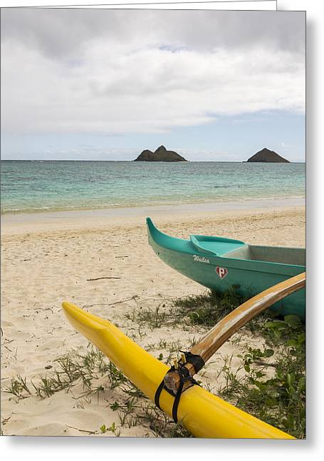 Brianharig Greeting Cards - Lanikai Beach Outrigger 2 - Oahu Hawaii Greeting Card by Brian Harig
