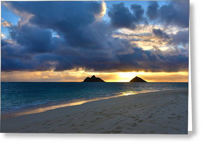 Brianharig Greeting Cards - Lanikai Beach Sunrise 3 - Kailua Oahu Hawaii Greeting Card by Brian Harig