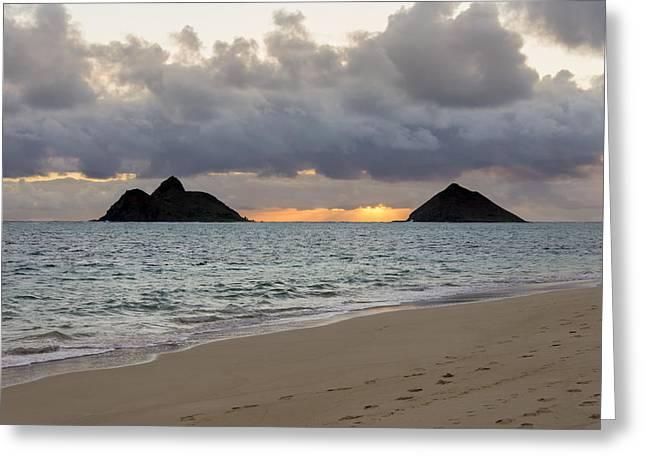 Lanikai Beach Sunrise 4 - Kailua Oahu Hawaii Greeting Card by Brian Harig