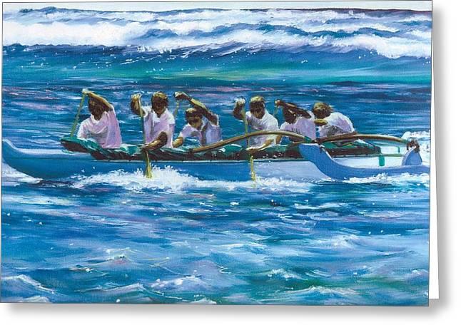 Ladys Island Greeting Cards - Lanikai Canoe Club Champions Greeting Card by Linda Briggs