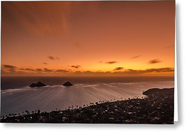Top Seller Greeting Cards - Lanikai sunrise - Oahu Greeting Card by Tin Lung Chao