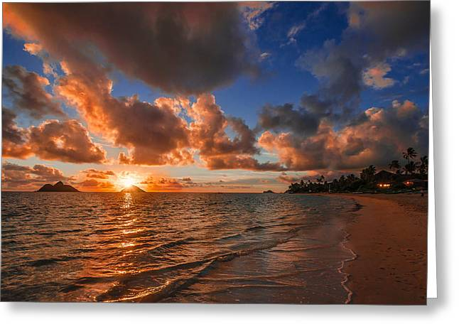Two Pyrography Greeting Cards - Lanikai Sunrise Greeting Card by RB Art