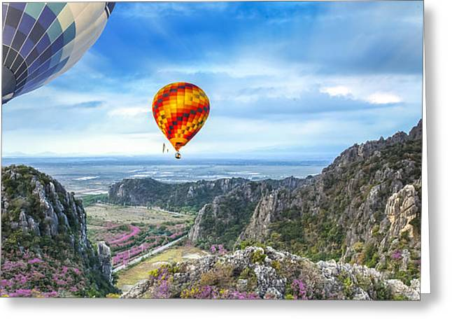Huahin Greeting Cards - Lanscape of mountain and balloon Greeting Card by Anek Suwannaphoom