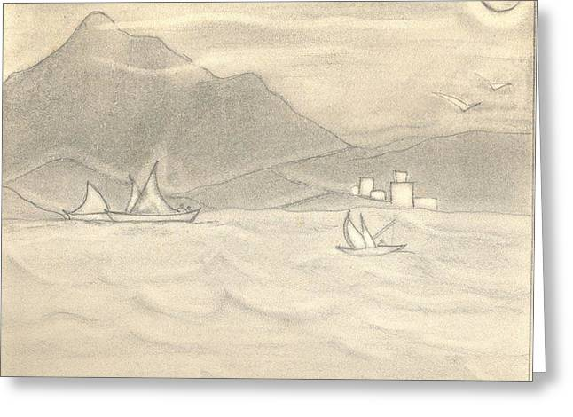 Lanscape Drawings Greeting Cards - Lanscape Greeting Card by Payal Patki