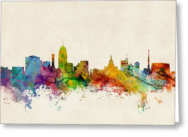 Skyline Greeting Cards - Lansing Michigan Skyline Greeting Card by Michael Tompsett