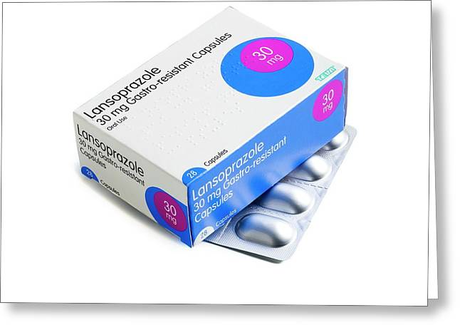 Lansoprazole Tablets Greeting Card by Science Photo Library
