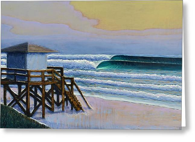 Ocean Reliefs Greeting Cards - Lantana Lifeguard Stand Greeting Card by Nathan Ledyard