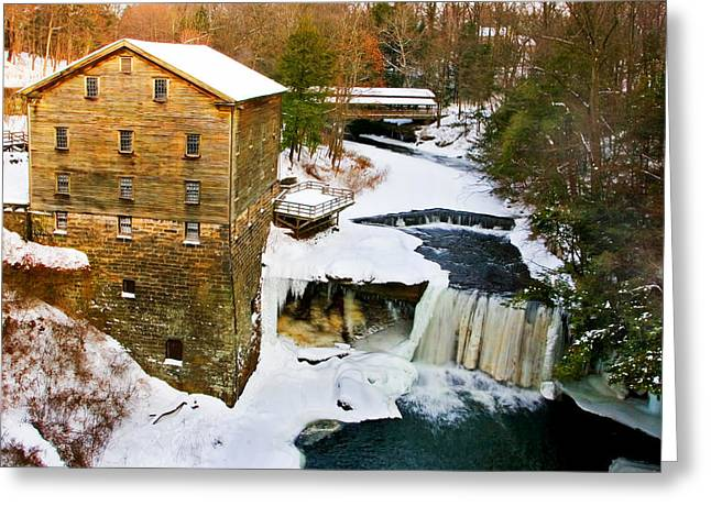 Wintry Greeting Cards - Lantermans Grist Mill and Bridge Greeting Card by Marcia Colelli