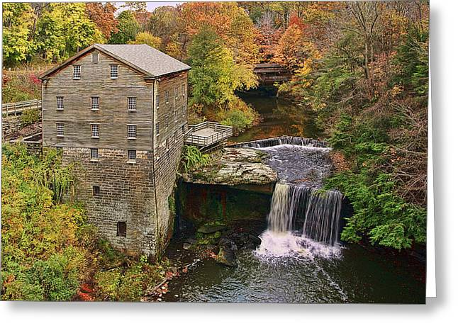 Lanterman's Mill And Bridge Greeting Card by Marcia Colelli