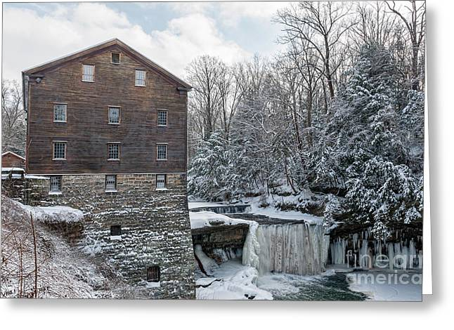 Covered Bridge Greeting Cards - Lantermans Mill And Frozen Falls Greeting Card by Danielle Neil