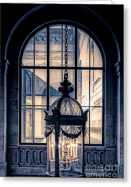 City Buildings Greeting Cards - Lantern and arched window Greeting Card by Edward Fielding