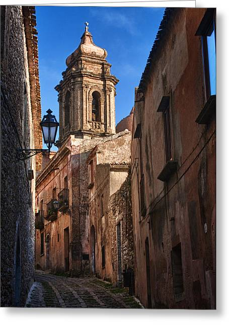 Erice Greeting Cards - Lantern and Bell Tower Greeting Card by Sam Oppenheim