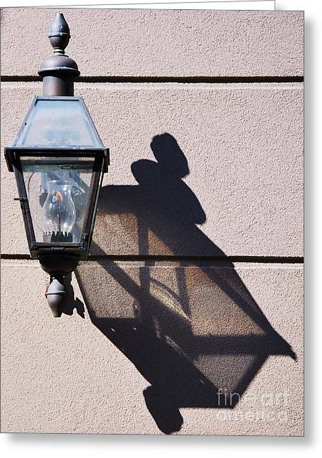 Elongated Shadows Greeting Cards - Lantern And Shadow New Orleans Greeting Card by Marcus Dagan