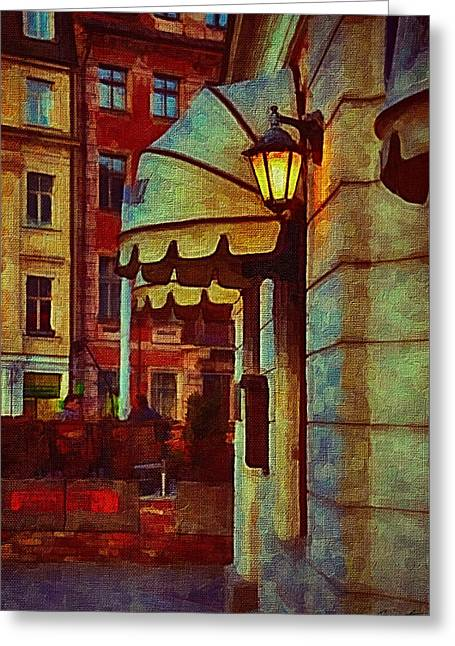 Town Mixed Media Greeting Cards - Lantern at the cafe Greeting Card by Gynt