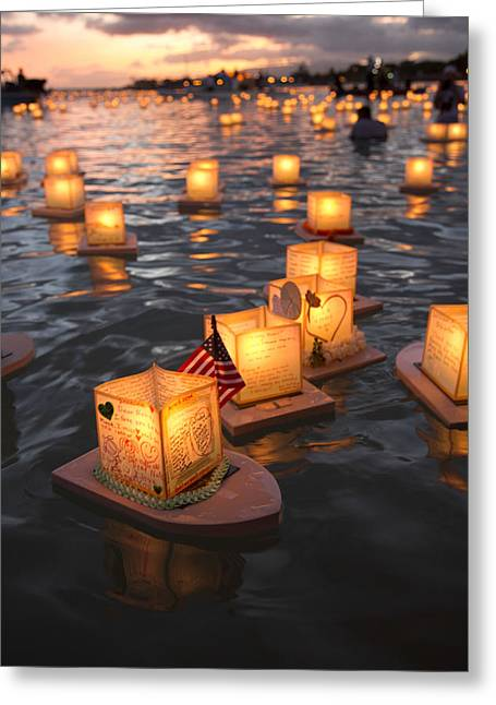 Ala Moana Greeting Cards - Lantern Floating Festival Greeting Card by Douglas Peebles