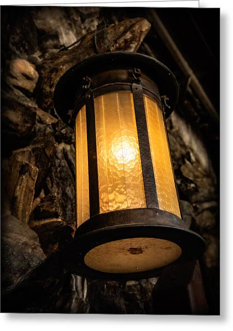 Grove Park Inn Greeting Cards - Lantern Glow Greeting Card by Carl Clay