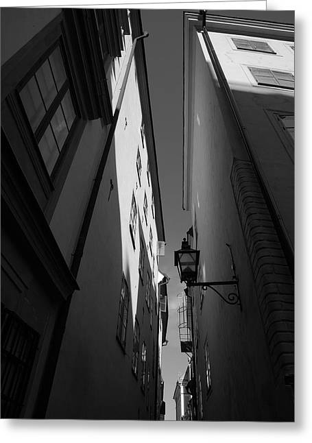 Buildings And Narrow Lanes Greeting Cards - Lantern in a narrow alley - monochrome Greeting Card by Intensivelight
