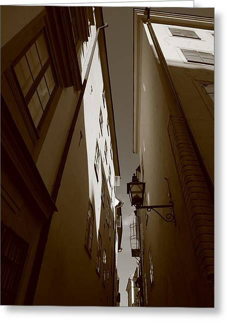 Buildings And Narrow Lanes Greeting Cards - Lantern in a narrow alley - sepia Greeting Card by Intensivelight